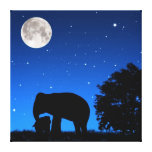 Mother & Baby Elephant Wrapped Canvas Stretched Canvas Prints