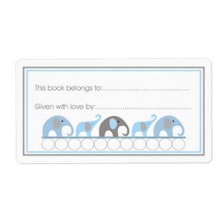 Mother Baby Elephants Bookplate Fill-in style Labels