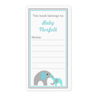 Mother & Baby Elephants Turquoise Bookplates Shipping Label