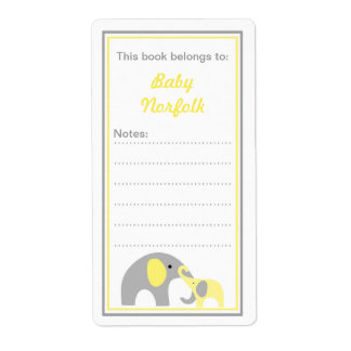 Mother & Baby Elephants Yellow Gray Bookplates Personalized Shipping Label