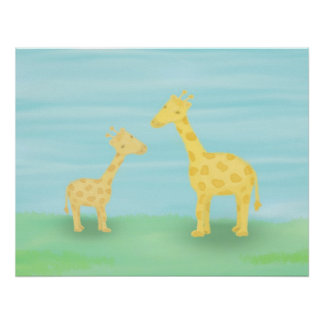 Mother & Baby Giraffes Posters