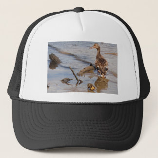 Mother & Baby Mallard on the River Trucker Hat