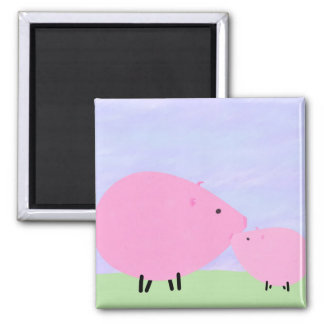 Mother Baby Pig Magnets