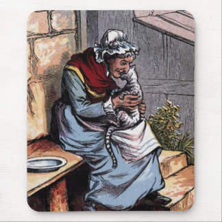 Mother Bantry with her Cat Vintage Illustration Mouse Pad