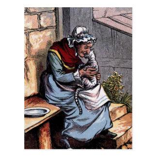 Mother Bantry with her Cat Vintage Illustration Postcard