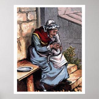 Mother Bantry with her Cat Vintage Illustration Poster