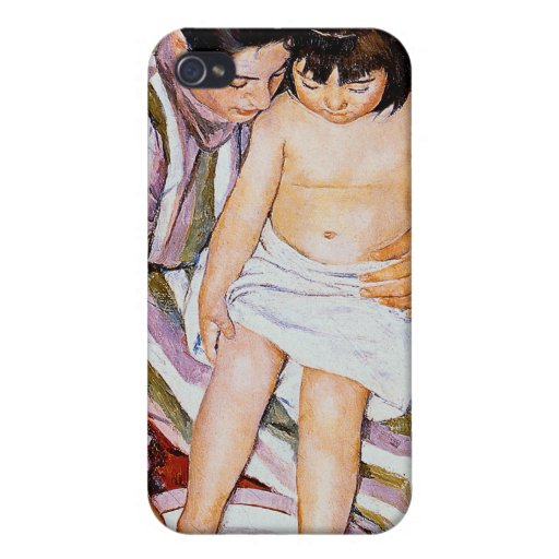 Mother bathing child bath art by Mary Cass Covers For iPhone 4