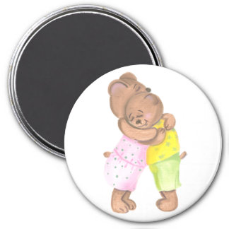 Mother Bear and Her Cub Hug 3 Inch Round Magnet