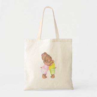 Mother Bear and Her Cub Hug Canvas Bags