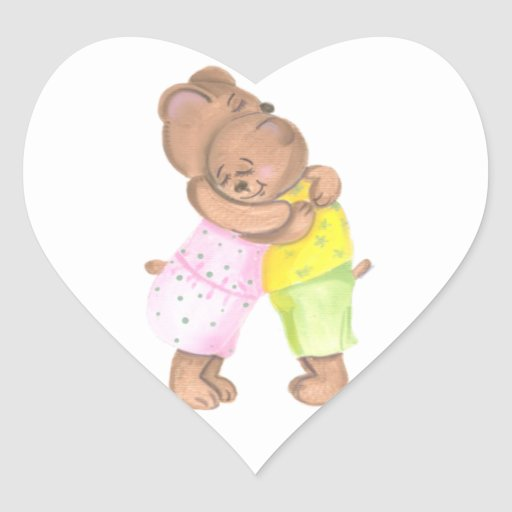 Mother Bear and Her Cub Show Love Heart Stickers