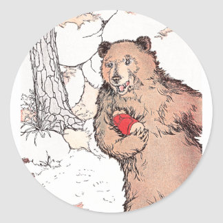 Mother Bear Carrying Prairie Dog Classic Round Sticker