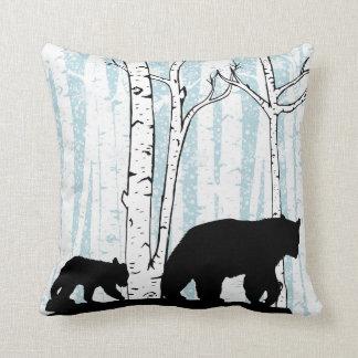 Mother Bear, Cub, Deer, Birch Trees Throw Pillow