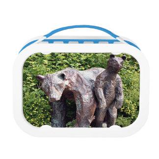 Mother bear & cub statues, Anchorage, Alaska Lunch Box