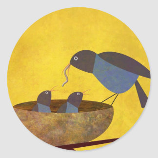 Mother Bird and Babies Classic Round Sticker