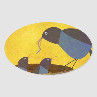 Mother Bird and Babies Oval Sticker