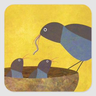 Mother Bird and Babies Square Sticker