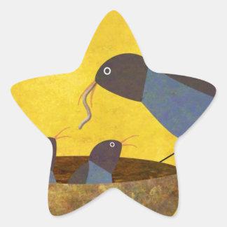 Mother Bird and Babies Star Sticker