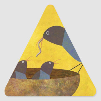 Mother Bird and Babies Triangle Sticker