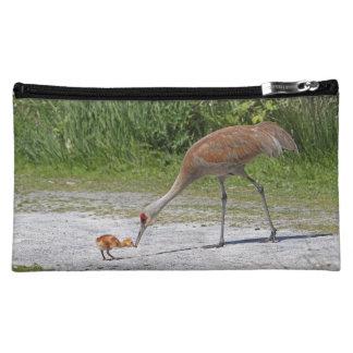 Mother Bird and Baby Bird Sandhill Cranes Cosmetics Bags