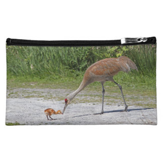 Mother Bird and Baby Bird Sandhill Cranes Makeup Bag