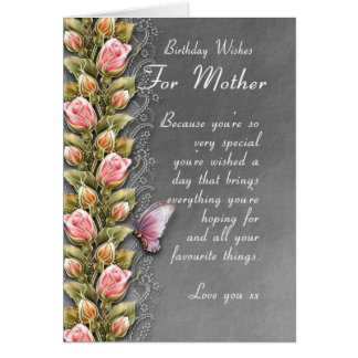 mother birthday card - birthday card with roses