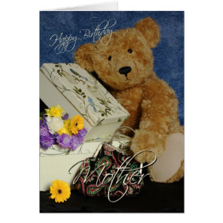 Mother Birthday Card with cute Bear boxes purse an