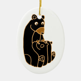 Mother Black Bear with Cubs Ceramic Ornament
