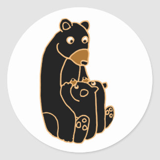 Mother Black Bear with Cubs Classic Round Sticker