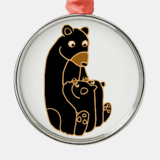 Mother Black Bear with Cubs Round Metal Christmas Ornament