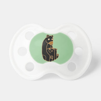 Mother Black Bear with Cubs Baby Pacifiers