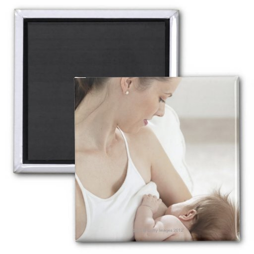Mother breastfeeding baby 2 2 inch square magnet