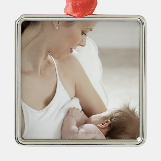 Mother breastfeeding baby 2 metal ornament