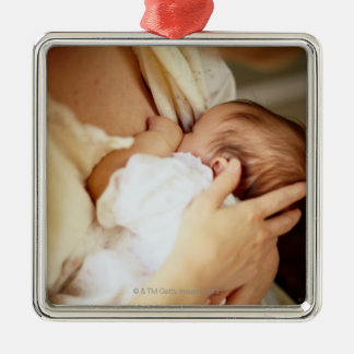 Mother breastfeeding baby girl (1-3 months) metal ornament