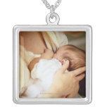 Mother breastfeeding baby girl (1-3 months) custom jewelry