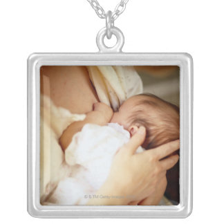 Mother breastfeeding baby girl (1-3 months) silver plated necklace