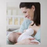 Mother breastfeeding baby print