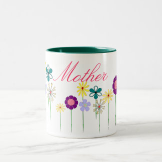 Mother - bright flowers for her Two-Tone coffee mug