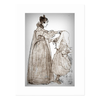 Mother Brushes Her Daughter's Hair Postcard