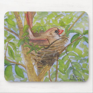 Mother Cardinal on Nest Mouse Pad