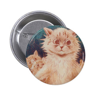 Mother Cat and Five Kittens Artwork by Louis Wain Pinback Button
