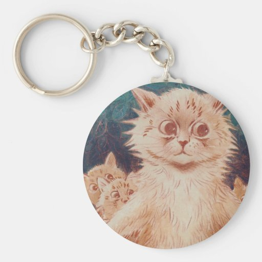 Mother Cat and Five Kittens Artwork by Louis Wain Key Chain