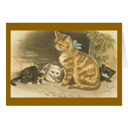 Mother Cat and Her Kittens Card
