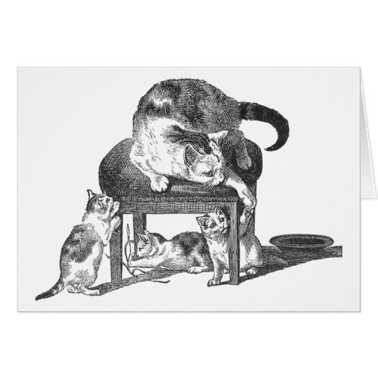 Mother Cat and Her Playful Kittens Card