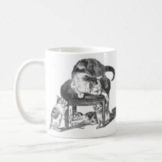 Mother Cat and Her Playful Kittens Coffee Mug