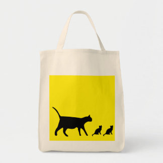 Mother Cat and Kittens Grocery Tote Bag