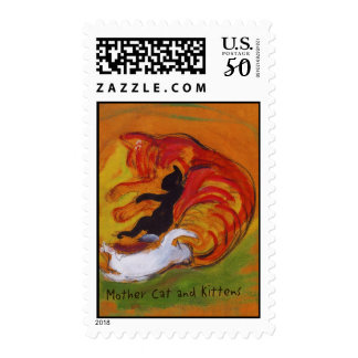 Mother Cat and Kittens Postage Stamp