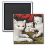 Mother cat and kittens with mouse fridge magnets