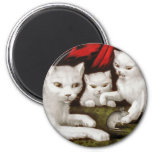 Mother cat and kittens with mouse refrigerator magnets