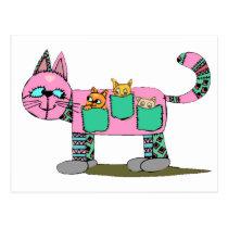Mother Cat, Carrying Curious Kittens - Postcard