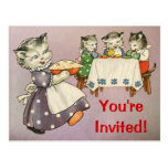 Mother Cat & Kittens Eating Pie - Party Invitation Postcard